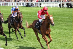 BALIOS with Jamie Spencer in the irons, sweeps home a winner in the King Edward VII at Ascot on June 19.