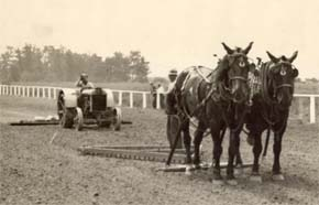 "Preparing the track at Kenilworth on April 11, 1920, the day before ""The Race Of The Century"" was run."