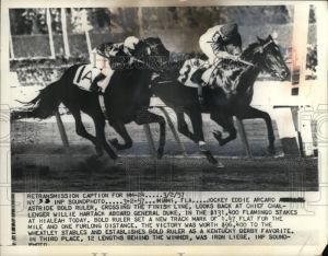 BOLD RULER, with Eddie Arcaro up, defeats GENERAL DUKE in the 1957 Flamingo Stakes.