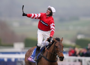 Coneygree ridden by jockey Nico de Boinville after winning the Cheltenham Gold Cup Chase on Gold Cup Day during the Cheltenham Festival at Cheltenham Racecourse, England, Friday March 13, 2015. (AP Photo/PA, David Davies) UNITED KINGDOM OUT NO SALES NO ARCHIVE