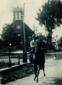 Grandpa riding TOPSY over the Walker Bridge in Huntingdon in the 1930's. This is my favourite photo of the two of them. Photo and copyright, Robert H. Anderson and family.