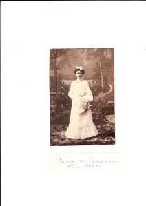 My grandmother upon her graduation from McGill University, circa 1906. Photo and copyright, Robert H. Anderson and family.