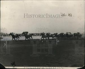 MOTHER GOOSE (on the rail) shown winning the 1924 Belmont Futurity.