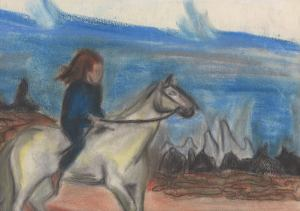 After my mother died about 2 years ago, we needed to clear out her house. I found that she had kept many of my early drawings. This one, of a girl riding her horse, was done when I was about 10-12 years old.