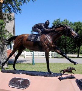 The $150,000 statue was commissioned by Cardston ranchers Jack and Ida Lowe and created by Artist Don Toney. It is being donated to the province of Alberta.